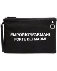 Emporio Armani Forte Dei Marmi Logo Clutch Bag - Black