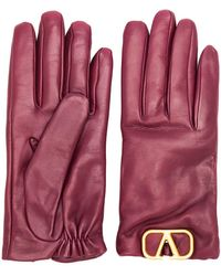 Valentino Garavani Vlogo Gloves - Red