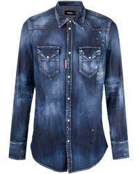 DSquared² Camicia denim con effetto schiarito - Blu