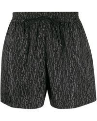 Ferragamo Printed Lettering Logo Swim Shorts - Gray