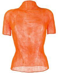 Issey Miyake Short Sleeved Pleated Top - Orange
