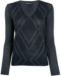 Emporio Armani Open-knit Argyle Top - Blue