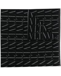 Valentino Garavani Valentino Garavani Vltn Print Fringed Scarf - Black