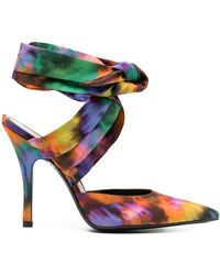 The Attico Abstract-print Court Shoes - Orange