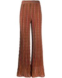 M Missoni Flared Sheer Piped Trousers - Brown
