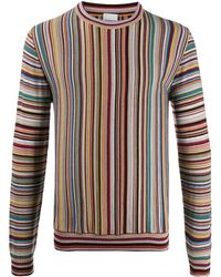 Paul Smith Long Sleeve Striped Knit Sweater - Yellow