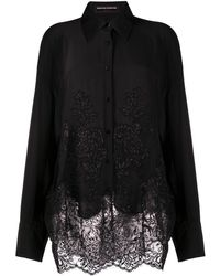 Ermanno Scervino Lace-panel Oversize Shirt - Black