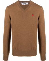 COMME DES GARÇONS PLAY Logo-patch Wool Jumper - Brown