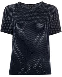 Emporio Armani Perforated Knit Top - Blue