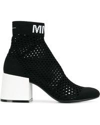 MM6 by Maison Martin Margiela Mesh Sock Boots - Black
