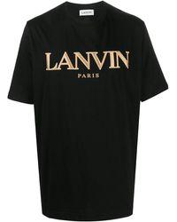 Lanvin Embroidered Logo Cotton T-shirt - Black