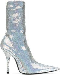 Balenciaga - Sequined Knife Ankle Boots - Lyst