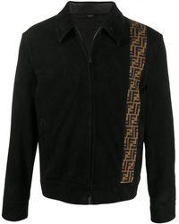 Fendi Ff Motif Detail Zip-up Jacket - Black