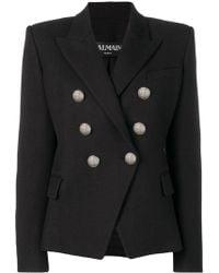 Balmain Virgin Wool Double-breasted Jacket In Black