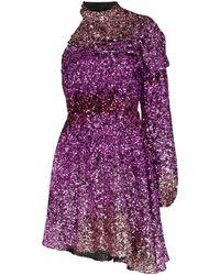 Halpern One-shoulder Sequin Mini Dress - Pink
