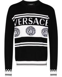Versace Intarsia-knit Logo Jumper - Black