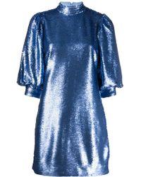 Ganni Sequined Mini Dress - Blue