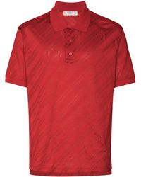Givenchy Jacquard Diagonal Stripe Polo Shirt - Red