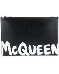 Alexander McQueen Paint Style Logo Clutch Bag - Black