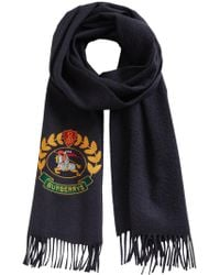 Burberry - Navy Classic Logo Cashmere Scarf - Lyst
