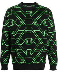 Emporio Armani Stitched Logo Jumper - Black