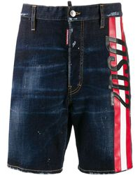 DSquared² Striped Logo Denim Shorts - Blue