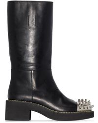 Miu Miu Studded Leather Boots - Black