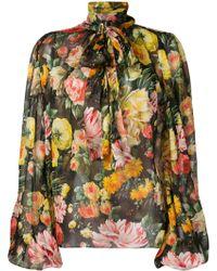 Dolce & Gabbana - Floral Print Silk Chiffon Tie Neck Blouse - Lyst