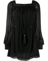 Saint Laurent Square Neck Mini Dress - Black