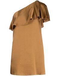 Saint Laurent Silk Ruffle-detail Shift Dress - Brown