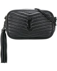 Saint Laurent Lou Quilted-effect Crossbody Bag - Black