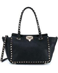 Valentino Rockstud Trapeze Leather Tote - Black