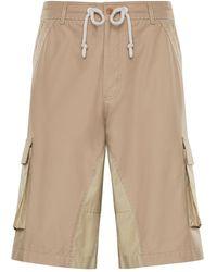 Moncler Cotton Bermuda Shorts - Natural
