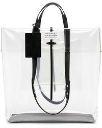 Maison Margiela Clear Logo Foldover Tote Bag - White