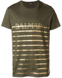 Balmain - Laminated Logo Print Cotton T-shirt - Lyst
