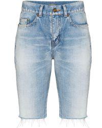 Saint Laurent Frayed Long Denim Shorts - Blue