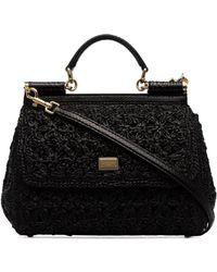 9313a3001294 Lyst - Dolce   Gabbana Mini Sicily Embellished Python Shoulder Bag