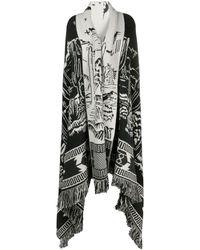 Alanui Intarsia-pattern Knitted Cape - Black