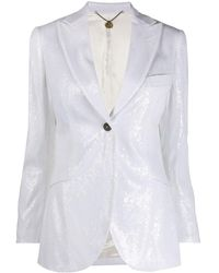 Maurizio Miri Sequined Fitted Jacket - White