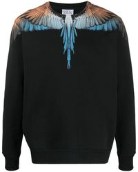 Marcelo Burlon Wings Print Crew Neck Sweatshirt - Black