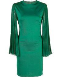 Alice + Olivia Zaya Pleated Strong Shoulder Dress - Green