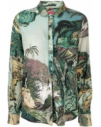 F.R.S For Restless Sleepers Graphic-print Silk Shirt - Green