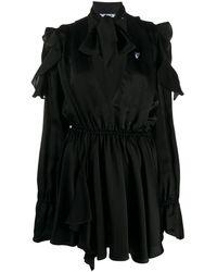 Off-White c/o Virgil Abloh Ruffle-detail Logo-print Dress - Black
