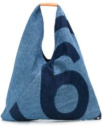 MM6 by Maison Martin Margiela Logo Tote Bag - Blue