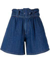 MSGM Shorts a vita alta - Blu