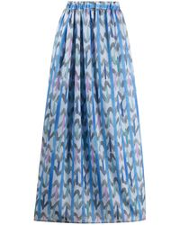 Emporio Armani Chevron Print Skirt - Blue