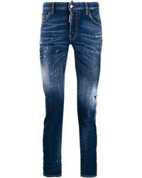 DSquared² Paint Splatter Skater Jeans - Blue