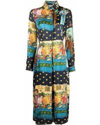 ALESSANDRO ENRIQUEZ Silk Printed Dress - Blue