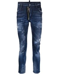 DSquared² Jeans slim con effetto vissuto - Blu