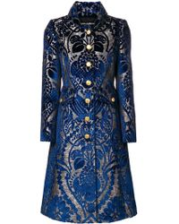 Dolce & Gabbana - Floral Jacquard Flared Coat - Lyst
